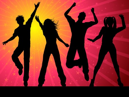 chicas bailando: Siluetas de personas bailando sobre fondo estrellado