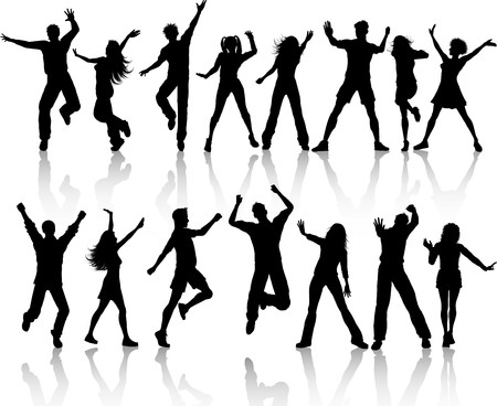 A collection of silhouettes of people dancing photo