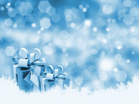 glittery: Christmas gifts on glittery gold background Stock Photo