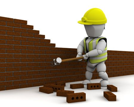 demolishing: 3D render of a man demolishing a wall with a sledge hammer Stock Photo