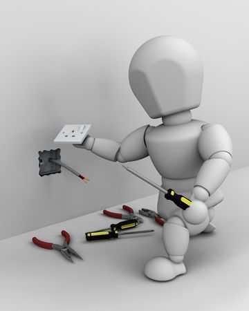 electricity 3d: 3D render of a man fitting an electrical socket Stock Photo
