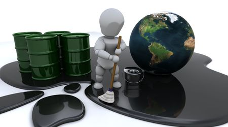 spills: 3D render of a man cleaning up oil spill