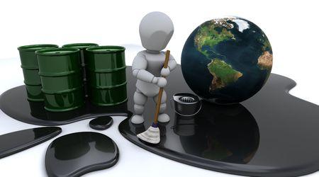 oil spill: Rendering 3D di un uomo di ripulire la marea nera
