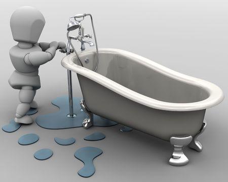 lekken: 3D renderen van een loodgieter tot vaststelling van een lek  Stockfoto