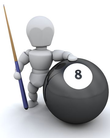 3D render of a man with 8 ball and pool cue photo