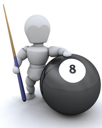 bola ocho: Procesamiento 3D de un hombre con Taco 8 de pelota y piscina
