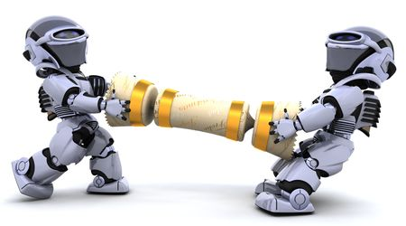 christmas cracker: 3D render of robots pulling on a christmas cracker Stock Photo