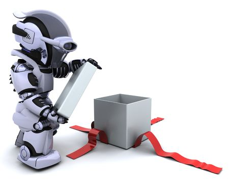 3D render of a robot opening gift box with bow photo