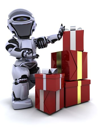 3D render of a robot with gift boxes with bows photo