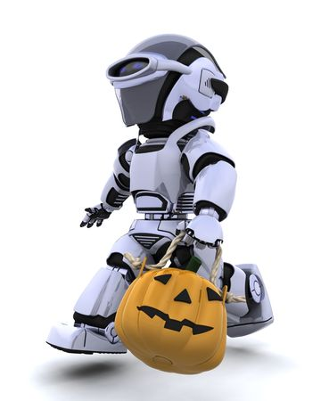 3D render of a robot with jack o lantern pumpkin Stock Photo - 7569809