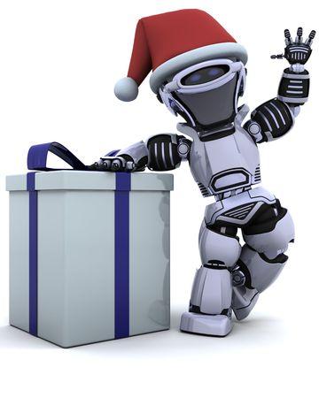 fiestas electronicas: 3D de procesamiento de un robot con caja de regalo de Navidad con arco  Foto de archivo