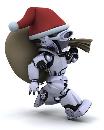 3D render of a robot with christmas gift sack photo