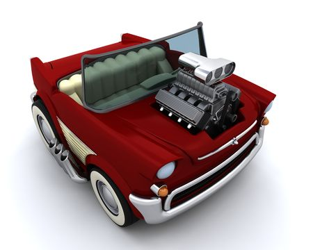supercharger: 3D render of Charicature of supercharged 50s classic car