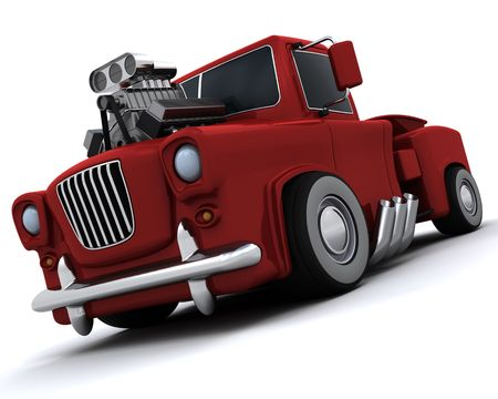 supercharger: 3D render of Charicature of supercharged 50s classic pickup truck