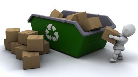 saltar: 3D de procesamiento del hombre reciclaje cuadros de tarjeta de skip  Foto de archivo