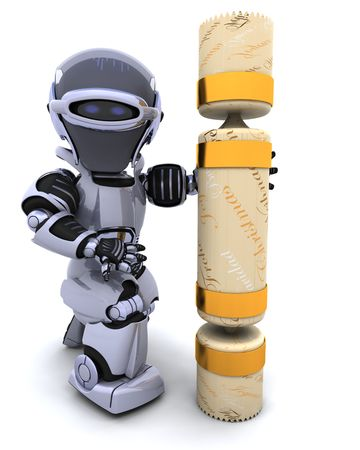 3D render of robot with a christmas cracker photo
