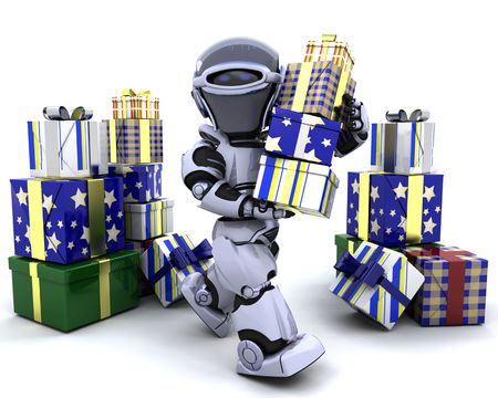 3D render of robot with big stack of gifts photo