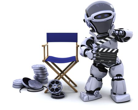 3D render of robot with clapper boards and film reels Stock Photo - 7661722