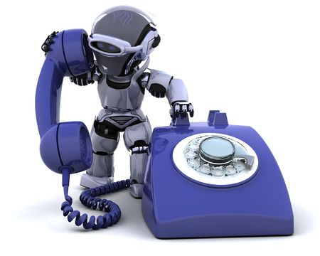 cute robot: 3D render of robot with a traditional telephone
