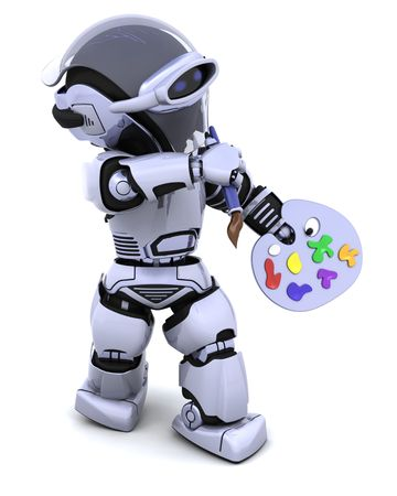 pallette: 3D render of robot with a pallette and paint brush Stock Photo