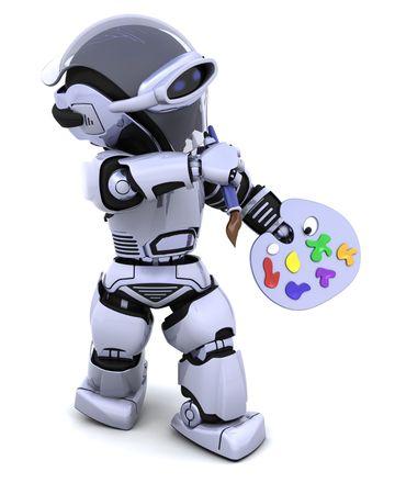pallette: Rendu 3D de robot avec une brosse pallette et peinture