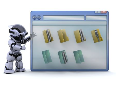 3D render of robot with computer window and folder icons photo