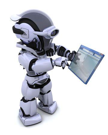 3D render of robot navigating through computer window  Stock Photo - 7661628