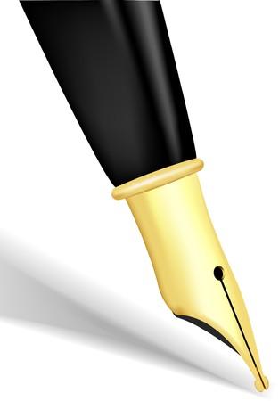 nib: Close up of a gold nib of a fountain pen