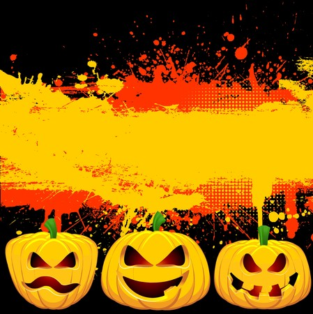 Grunge Halloween background with spooky Jack o Lanterns photo
