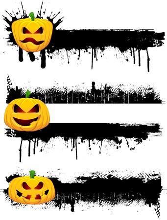 Grunge Halloween borders with evil pumpkins photo