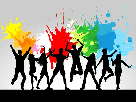 Silhouettes of people dancing on a grunge background photo