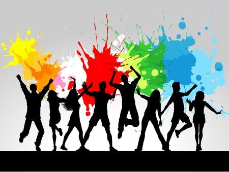 silueta masculina: Siluetas de personas bailando sobre un fondo de grunge
