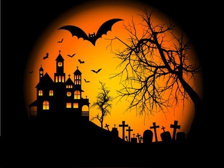 cementerios: Escalofriante de fondo de Halloween, con casa embrujada en una colina