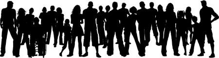 silueta masculina: Silueta de una gran multitud de personas  Foto de archivo