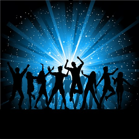 disco dancing: Silhouettes of people dancing on starry background