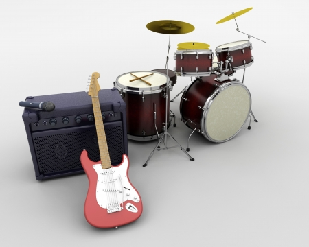 drum: 3d render of a guitar amplifier and drum kit