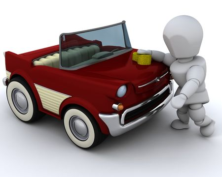 3D render of  a man washing a car photo