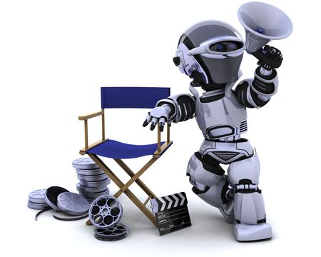 3D render of a robot with megaphone and directors chair Stock Photo - 7684540
