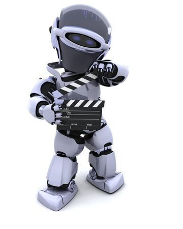 3D render of a robot with clapper board Stock Photo - 7684531