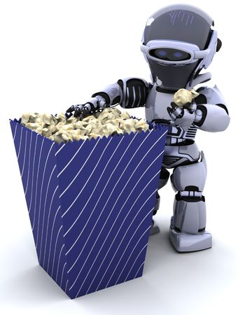 3D render of a robot with a box of popcorn photo
