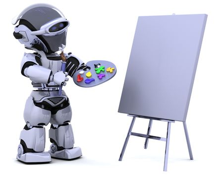 3D render of robot with a pallette and paint brush photo