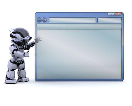 render: 3D render of robot with empty computer window Stock Photo