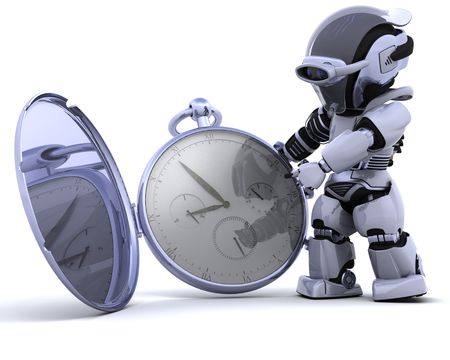 3D render of a robot with classic pocket watch Stock Photo - 7684532