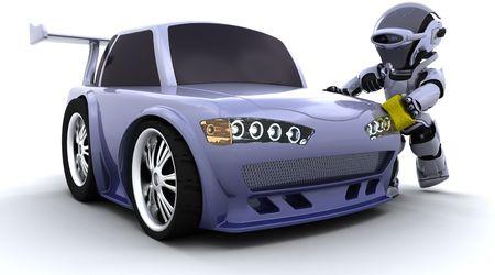 3D-Render-Business eines Roboters Waschen ein Auto