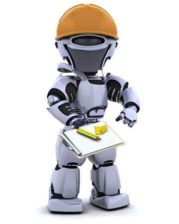 3D render of a robot robot in hardhat with clipboard Stock Photo - 7684537