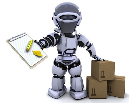 3D render of a robot with clipboard and boxes photo