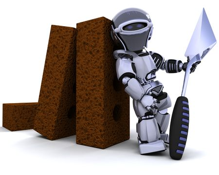 3D render of a robot with bricks and trowel Stock Photo - 7684550