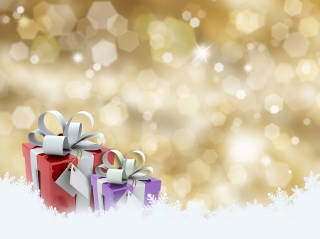 christmas gifts: Christmas gifts on glittery gold background Stock Photo