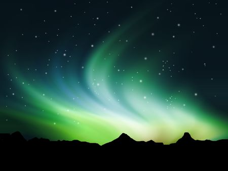 Background showing Northern lights in the sky Stock Photo - 7685245