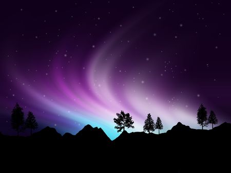 Background showing Northern lights in the sky Stock Photo - 7685246
